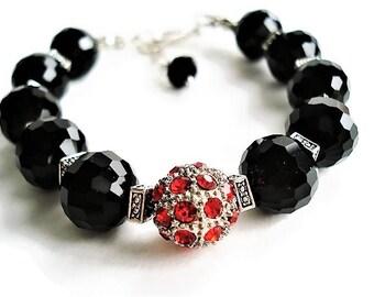 Onyx Bracelet Gemstone Jewelry Black Bracelet Boho Jewelry Statement Bracelet Black Jewelry Everyday Bracelet Gift For Women Silver Bracelet