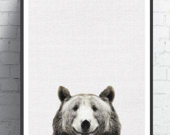 Woodland Nursery, Bear print, Bear Decor, Bear Art, Instant Download, Printable Art, Animal Print, Animal Art Print, Animals Art