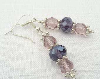 Purple Crystal Earrings - Purple & Lavender Crystal Bead Earrings - Silver Plated Drop Earrings - Crystal Earrings - Gift for Her