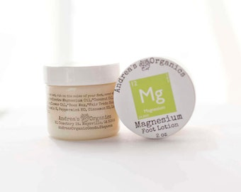 Magnesium Foot lotion Organic ingredients 2 ounces