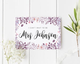 Mrs To Be Wedding Card, Floral I Can't Wait To Be Mrs, Personalised Groom Wedding Card, I Can't Wait To Marry You, Groom Wedding Day Card