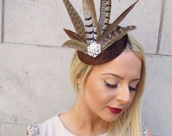 Brown Velvet Pheasant Statement Feather Fascinator Hair Clip Hat 40s Races 2457