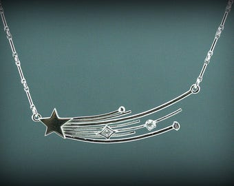 Star necklace, shooting silver star necklace, celestial necklace, silver and white zircon necklace, star jewelry, gift, women