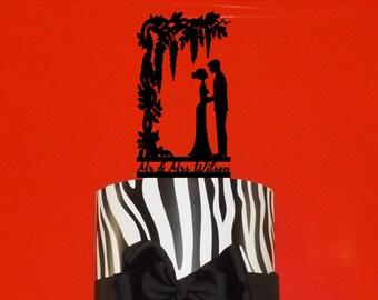 Wisteria Arbor over a Wedding Couple.  Your Name or Phrase for the Woodland or Garden Wedding