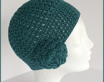Womens summer hat, Teal cotton beanie, Green beanie hat, Natural fiber hat, Women summer beanie, Womens cotton hat,Spring beanie with flower