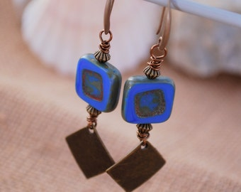 Rustic bohemian earrings, Dark blue square boho earrings, unique everyday simple earrings