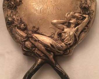Antique Silver Art Nouveau Repousse Hand Mirror