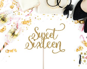 Sweet 16 Birthday Cake Topper - 16th Birthday Cake Topper - Sweet Sixteen Cake Topper - Sweet Sixteen Party Decorations - Sweet 16 Party