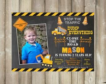 Construction Birthday Invitation - Boy Birthday Invites - Dump Trucks Bday Invite - DIGITAL FILE