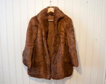 Vintage fur coat - Rabbit fur - Old brown coat 90's - Real animal fur - Size Medium 40 - Woman jacket