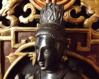 Guanyin, Kuan Yin ,old wooden ebony from macassar,  Old Guanyin from  China 1930s