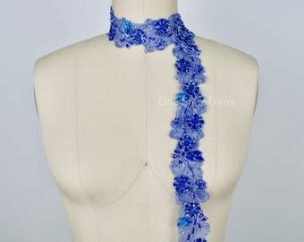Penesse Royal Blue Costume Beaded and Sequined Lace With Silver Wiring. Perfect for Ballet and Lyrical Dancer Costumes
