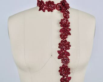 "18"" Garnet Burgundy Sequined Lace Trim. Formal Burgundy Lace Trim. Great Deal of beading And 3D Flowers"