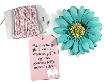 Open Your Bottle Baby Shower Tags Set of 20 - Baby is Coming - Light Pink Elephant Tags - Champagne Favors - Send a Cheer - Baby Girl Favors