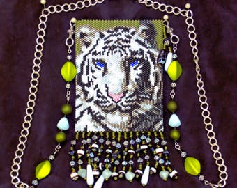 White Tiger Pouch Necklace