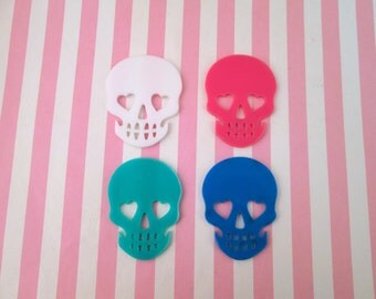 2 Assorted Sugar Skull Cabochons, Day of the Dead, Laser Cut #647