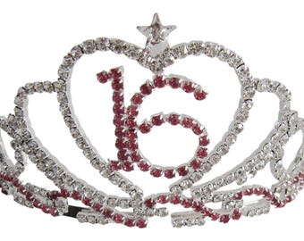 16th Birthday Diamante Crystal Tiara - Silver Plated Finish 16th Birthday Gift 16th Ideas Sweet 16 Tiara