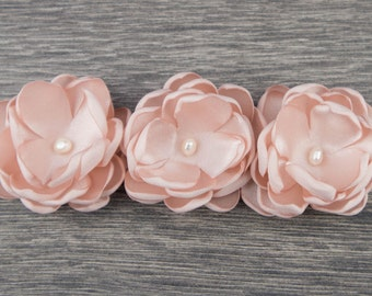 Pink White Christening Headband - Baby Headband - Baptism Headband - Fabric Flower - Girls Headband - Baby Girl Headband - Newborn Headband