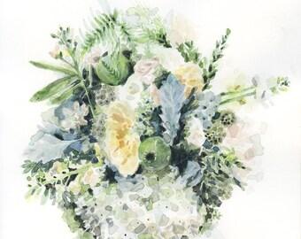 "9X9"" Bouquet Print, Floral Print, Watercolour Print, Watercolour Flowers, Watercolor Print, Bouquet, Bridal Bouquet, Watercolor, Flowers"