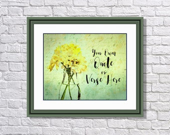 Grungy, Textured, Watercolour Effect Daisy Print. Custom Design for you to use Your Own Words - Digital File