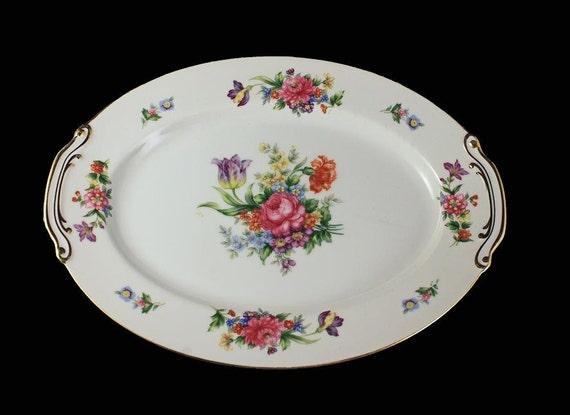 Oval Platter, Sango China, Occupied Japan, Floradel, Floral Pattern, 12 Inch,Multi-floral, Gold Trim