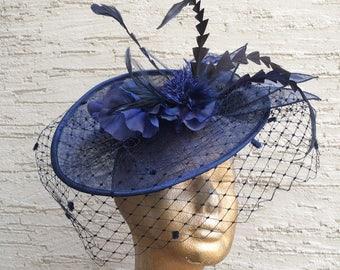 Elegant derby hat, Navy Blue hat, Royal Ascot fascinator, Kentucky derby headpiece, Elegant veiled headpiece, Melbourne cup hat, wedding hat