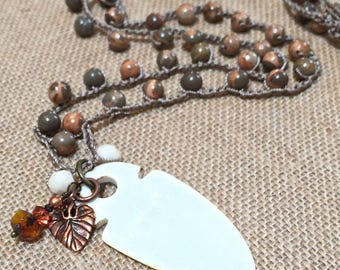 Boho crochet necklace, long beaded crochet necklace, gemstones, shades of rust/gray/topaz, dramatic etched bone pendant, crochet  jewelry