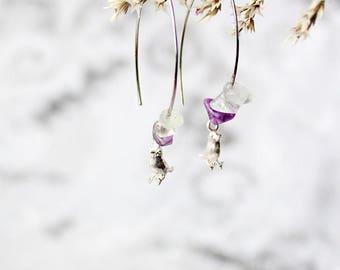gemstone earrings bird jewelry animal earrings purple earrings hoop earrings spring jewelry cute bird earrings fluorite earrings easter кю45