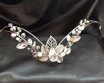 Aurora Circlet - Elven - Celtic Bridal Silver Tiara - Wedding Headpiece Headdress - LOTR Arwen Galadriel Headband Tiara Diadem