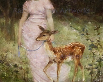 "Frederick Church ""A Willing Captive"" 1882 Reproduction Digital Print Vintage Decor Woman with a Fawn Animal Deer"
