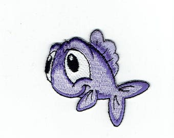 Fish - Purple - Facing Left - Childrens - Iron on Applique - Embroidered Patch - 796039-A