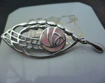 """A superb silver Mackintosh style brooch - Pink detail - 925 - sterling silver - 2"""" x 0.7"""""""