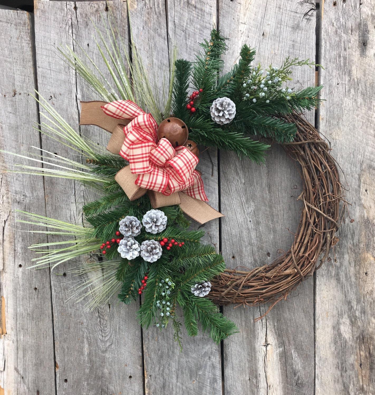 Christmas wreath holiday wreath winter wreath front door for Front door xmas wreaths