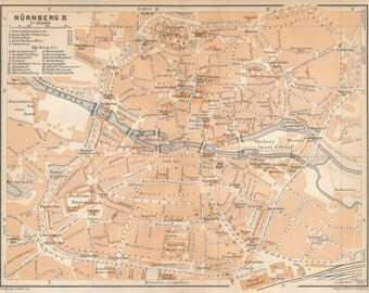 1929 Nuremberg Germany Antique Map