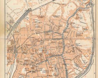 1910 Bruges Belgium Antique Map