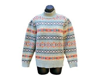 Vintage Lands End Fair Isle Sweater-Mock / Turtleneck Collar-Wool Blend-Pale Green w/ Orange, Gold Nordic Designs  - Women's Size Medium (M)