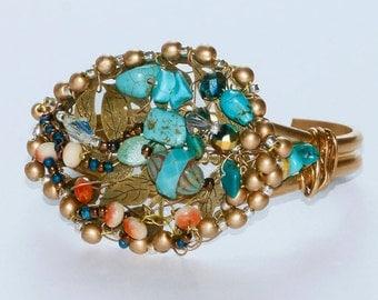 CRYSTAL TURQUOISE BRACELET, Wearable Art Jewelry, Blue Turquoise Bracelet, Beaded Cuff Bracelet, Bronze Cuff, Leaf Bracelet, Gift for Woman