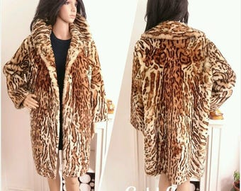 Vintage 50s 60s Sheepskin Animal Print Faux Leopard Coat Rockabilly M / UK 12 14 / EU 40 42