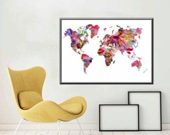 World Map Poster World Map Decor Watercolor Map Printable Large World Map Printable World Map Decor Christmas Gift - Printable Files only