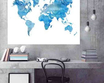 World Map Print, Blue World Map, World Map Art, World map Wall Art, Large World Map Poster, Large World Map