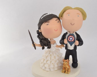 Witch bride and Superhero Groom. Harry Potter/Marvel Theme. Wedding cake topper. Wedding figurine. Unique keepsake