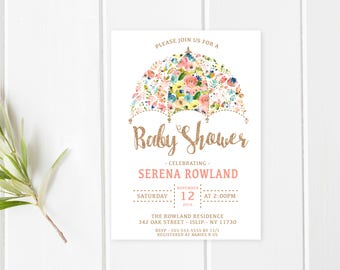 Baby Shower Invitation, Baby, Baby Shower, Rose Gold, Glitter, Pretty, Floral, Flower, Printable Shower Invite, Floral Baby Shower [522]