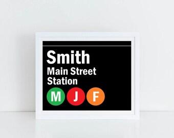 New York City, New York City Wall Art, NYC, NYC ArtCustom NYC Subway Family Name/Street Sign Digital File Printable Wall/Home Decor