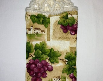 Grapes and Winery Hanging Kitchen Towel
