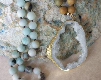 Amazonite Necklace/Amazonite Beaded Necklace/Druzy Necklace/Beaded Necklace/White Druzy Necklace/Hand Knotted Necklace/Beaded Gemstone/N0786