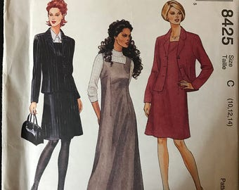 McCalls 8425 - Dress or Jumpe with Square Neck and Jacket with Notched Collar - Size 10 12 14