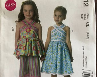 McCalls M6312 - Easy Girls Criss Cross Top or Dress with Raised Waist, Belt, and Capri Pants - Size 6 7 8