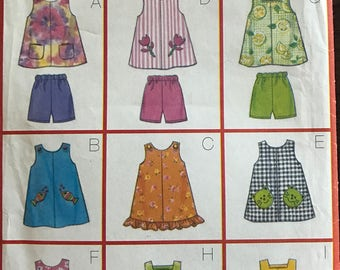 McCalls 5562 - Girls Very Easy Summer A Line Dress or Top and Pull On Shorts - Size 6 7 8