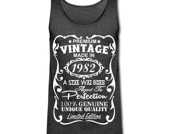 """35th Birthday Gift - Unique American Apparel Tri-blend Tank Top  - ***VELVETY PRINT """"Made in 1982"""" Design Tank*** - Memorable Birthday Gifts"""