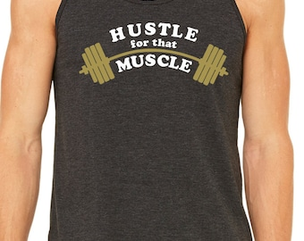 Hustle for that muscle - mens tank all sizes in black work out gym fitness